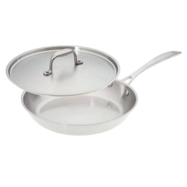 American Kitchen 10 in. Premium Stainless Steel Skillet with Cover