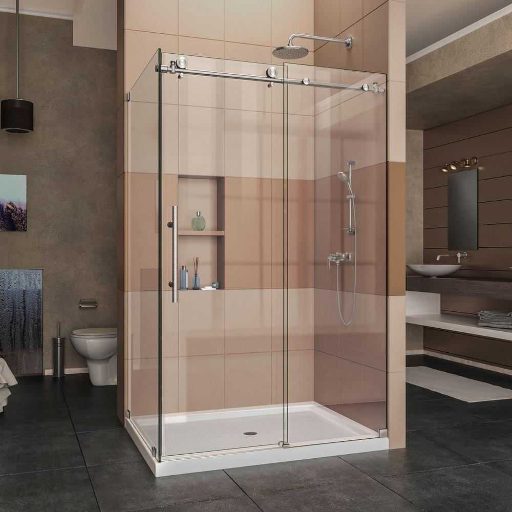 DreamLine Enigma-X 48.375 in. x 76 in. Frameless Corner Sliding Shower Enclosure in Brushed Stainless Steel with Handle
