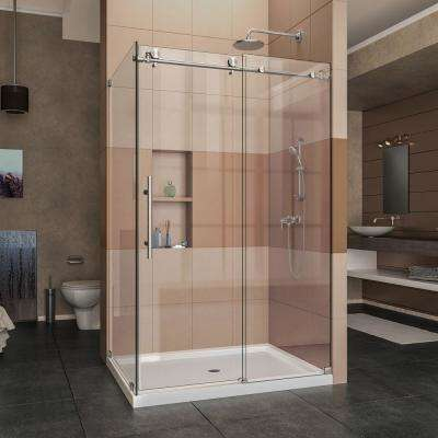 Enigma-X 48.375 in. x 76 in. Frameless Corner Sliding Shower Enclosure in Brushed Stainless Steel with Handle