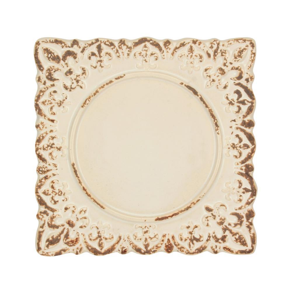 Worn White Fleur De Lis Ceramic Square Plate Candle Holder