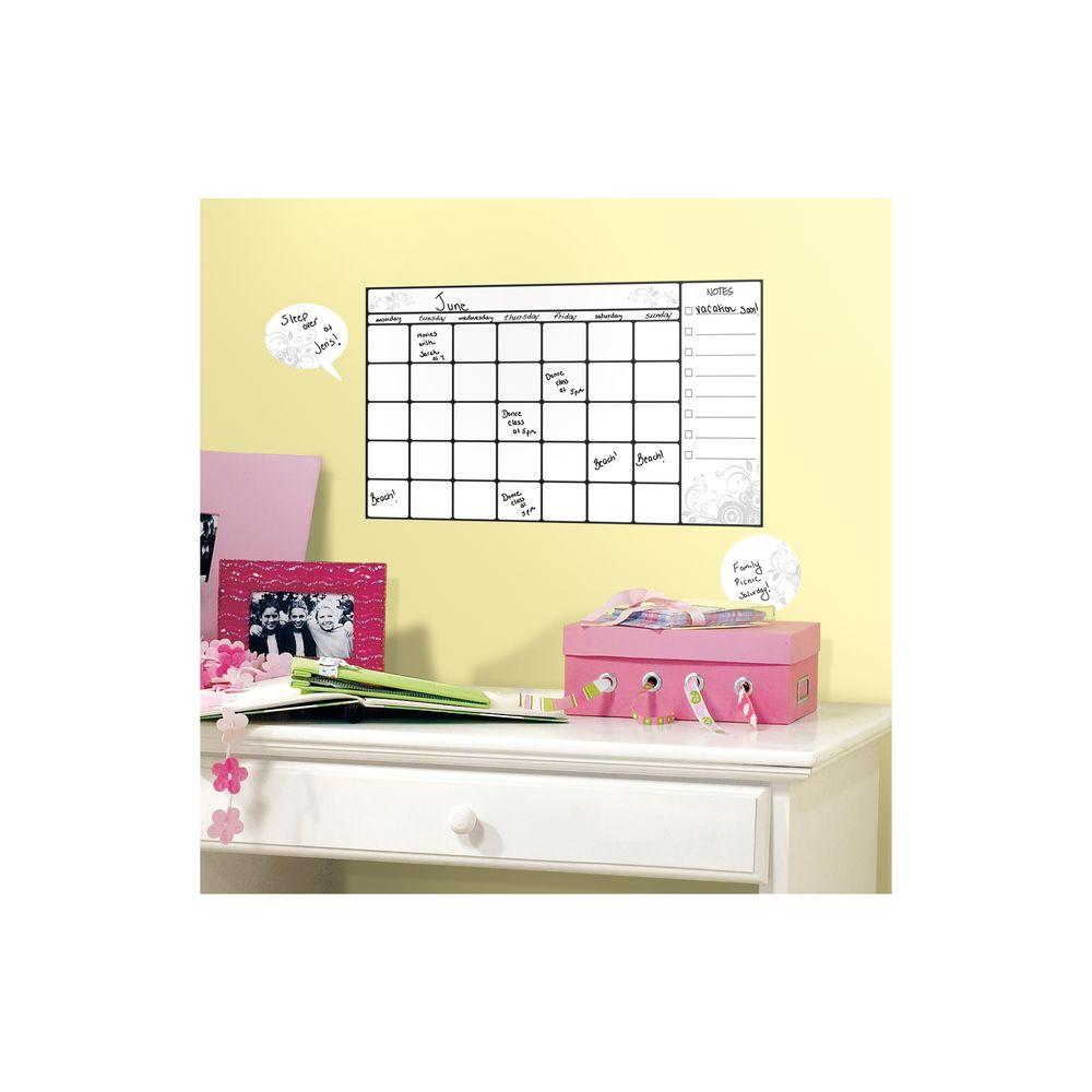 5.75 in. x 11.5 in. Universal Calendar Dry Erase Peel and Stick Wall ...