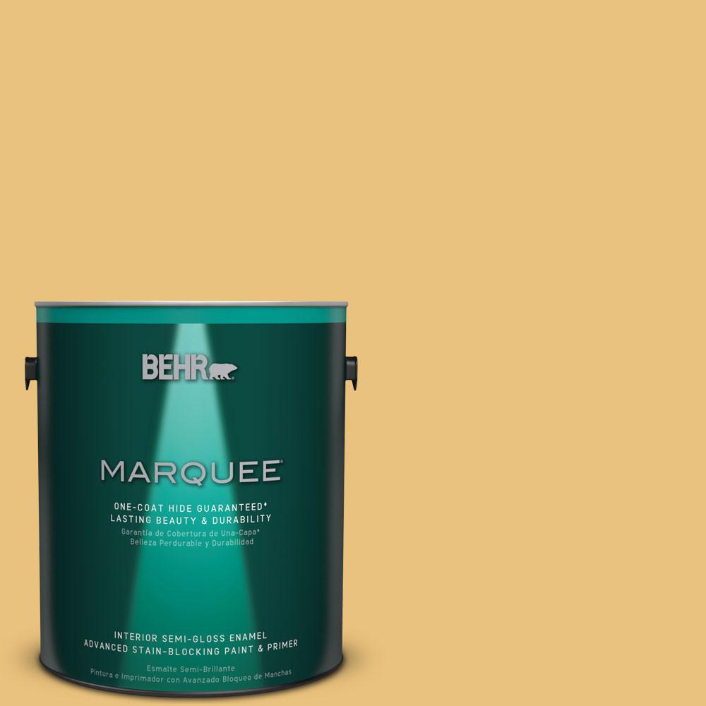1 gal. #MQ4-13 Golden Thread One-Coat Hide Semi-Gloss Enamel Interior Paint