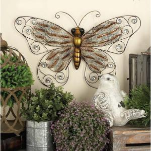 16 inch Natural Olive Green Iron Butterfly Wall Decor by