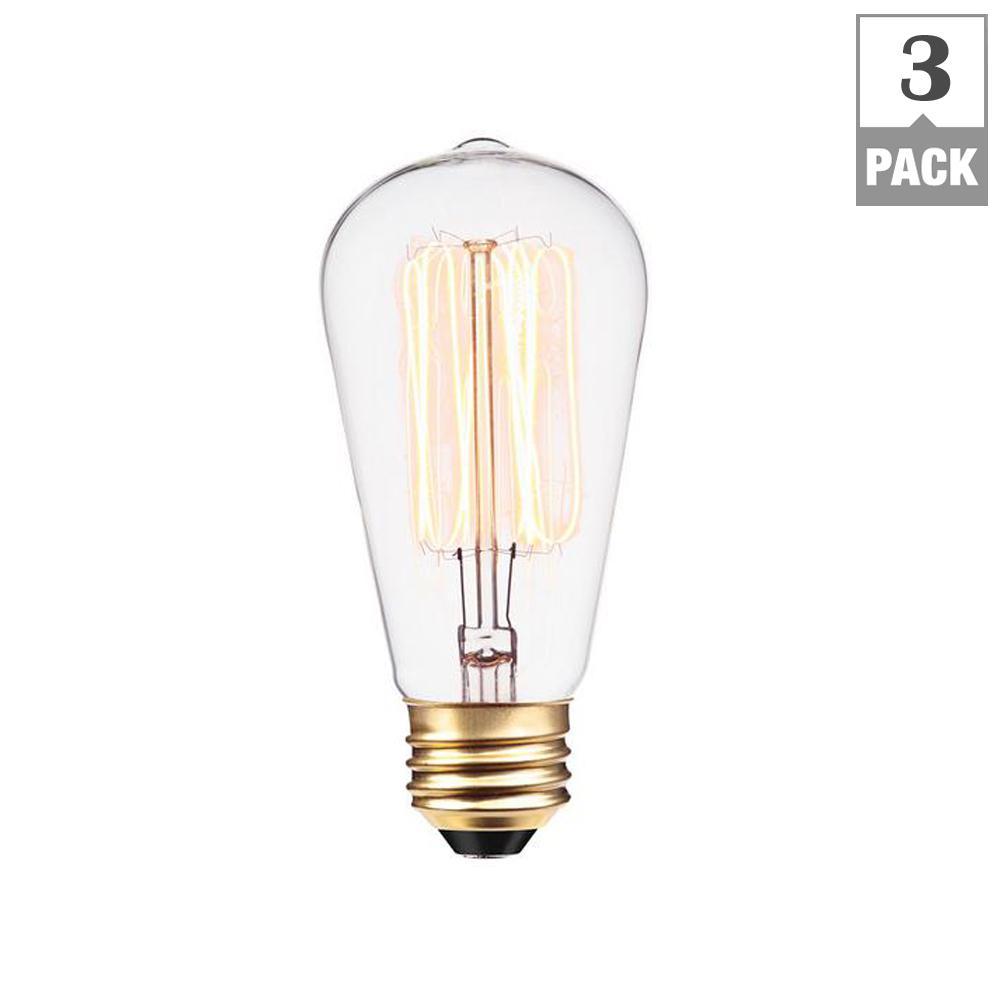 Globe Electric 60W Vintage Edison S60 Squirrel Cage Incandescent Filament Light Bulb (3-Pack)