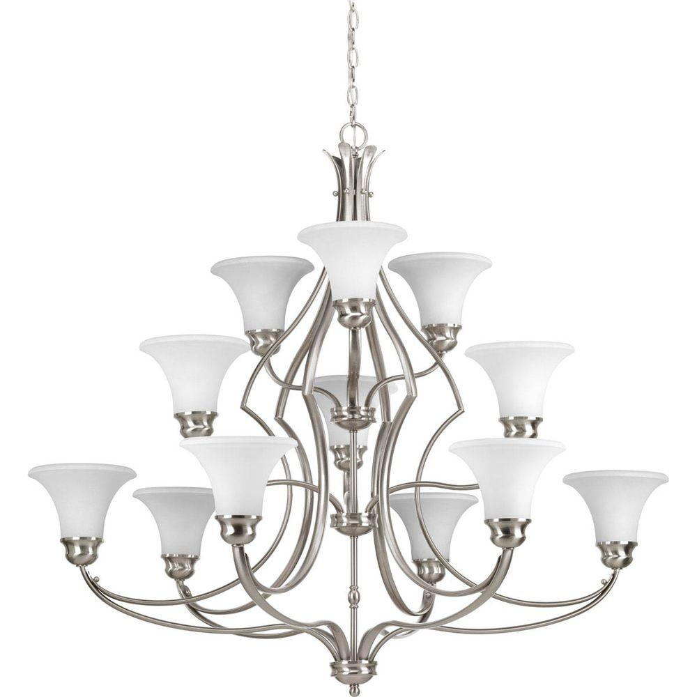 Applause Collection 12-Light Brushed Nickel Chandelier with White Etched