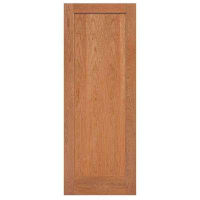40 in. x 84 in. Flat Panel Cherry Veneer 1 Panel Shaker Solid Wood Interior Barn Door Slab