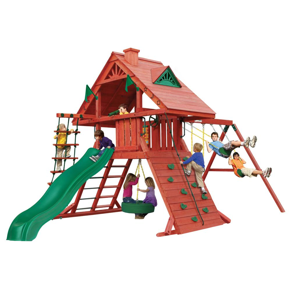 Gorilla Playsets Sun Palace I Wooden Swing Set with Tire Swing
