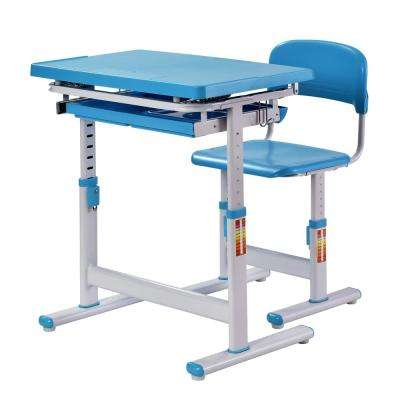 2-Piece Blue Ergonomic Adjustable Kids Standing Desk and Chair