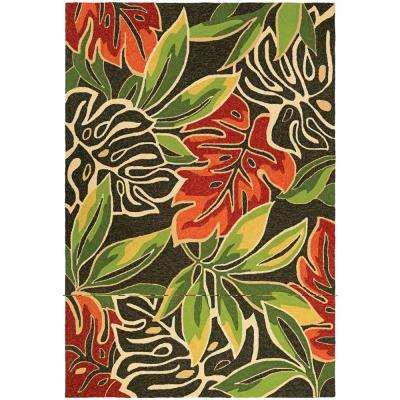 Covington Areca Palms Brown-Forest Green 8 ft. x 11 ft. Indoor/Outdoor Area Rug