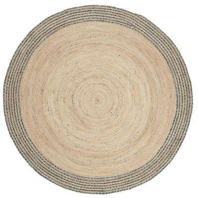 Cape Cod Ivory/Steel Gray 5 ft. x 5 ft. Round Area Rug