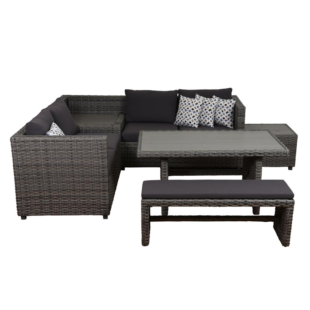 Wicker Sectional Set Grey Cushions