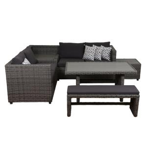 Atlantic Mustang 5-Piece Synthetic Wicker Sectional Patio Set with Grey Cushions by Atlantic