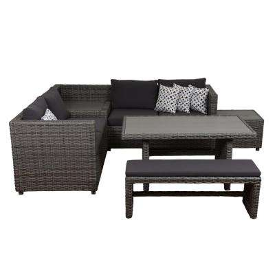 Mustang 5-Piece Synthetic Wicker Sectional Patio Set with Grey Cushions