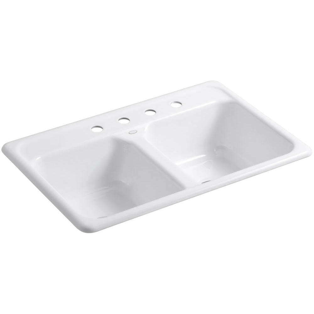 Medium image of kohler delafield drop in cast iron 33 in  4 hole double bowl kitchen sink in white k 5817 4 0   the home depot