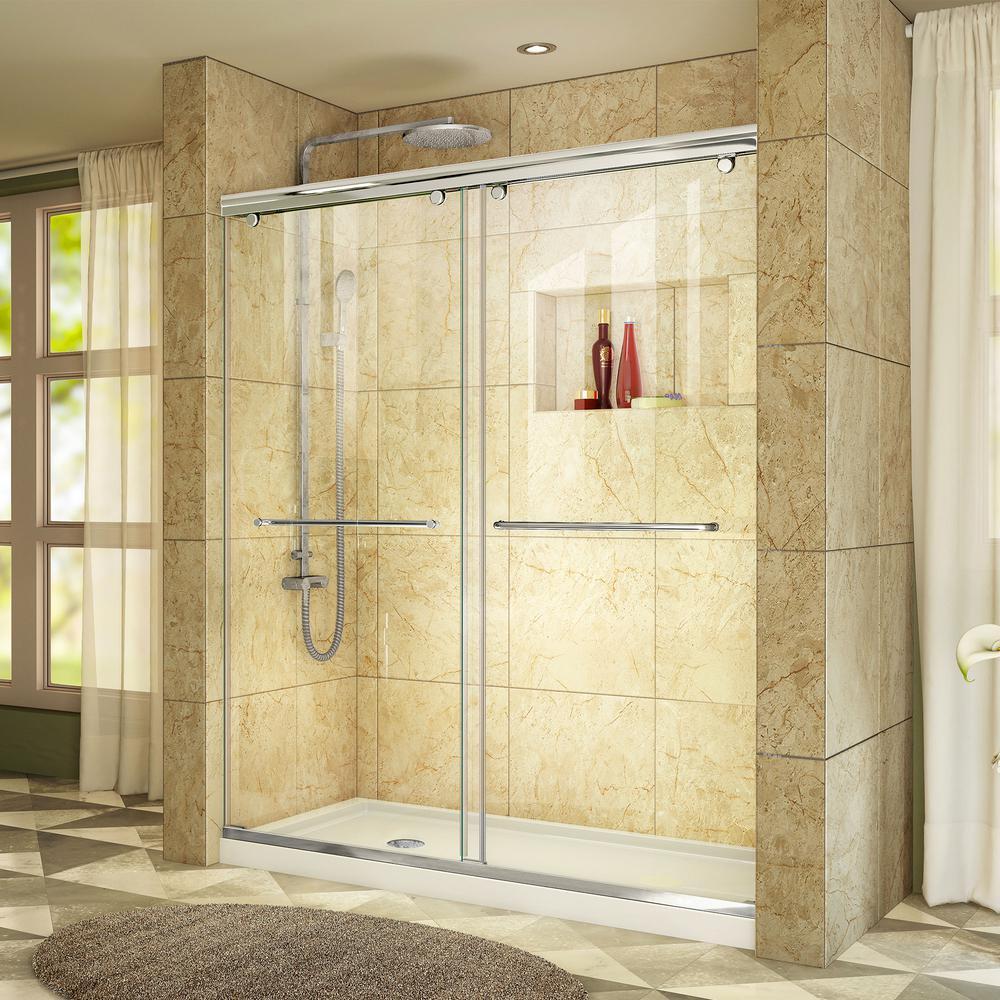 Charisma 32 in. x 60 in. x 78.75 in. Semi-Frameless Sliding Shower Door in Chrome and Left Drain Shower Base