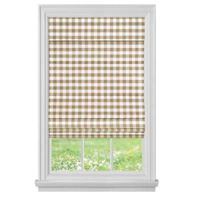Buffalo Check Taupe Cordless Roman Shade - 35 in. W x 64 in. L