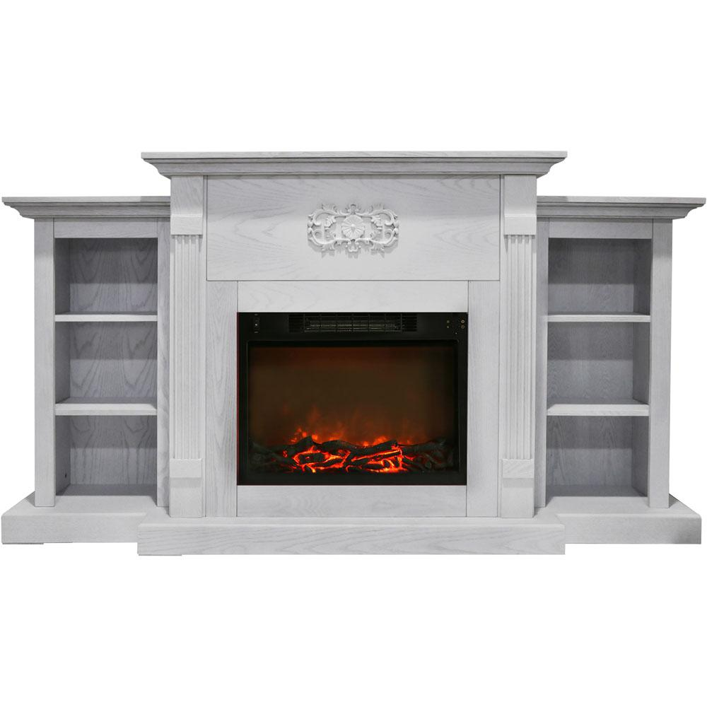 Electric Fireplace In White With Built Bookshelves And A