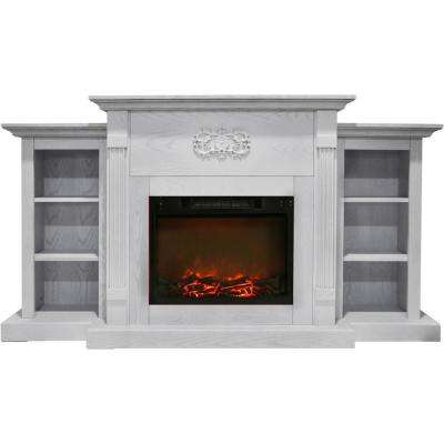 Classic 72 in. Electric Fireplace in White with Built-in Bookshelves and a 1500-Watt Charred Log Insert