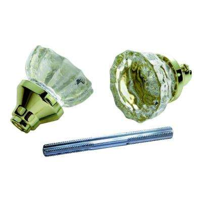 Polished Brass Glass Knob Set with Spindle