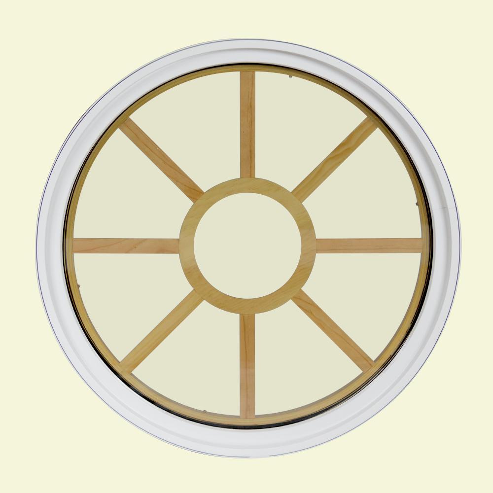 36 in. x 36 in. Round White 6-9/16 in. Jamb 3-1/2 in. Interior Trim 9-Lite Grille Geometric Aluminum Clad Wood Window