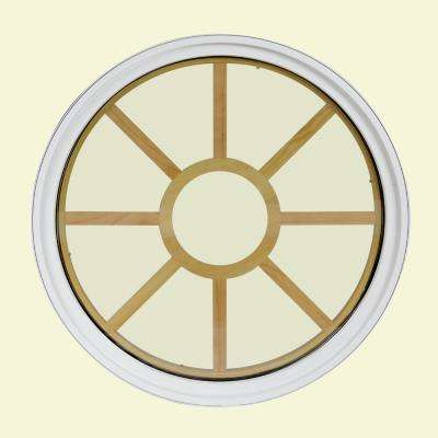 48 in. x 48 in. Round White 6-9/16 in. Jamb 9-Lite Grille Geometric Aluminum Clad Wood Window