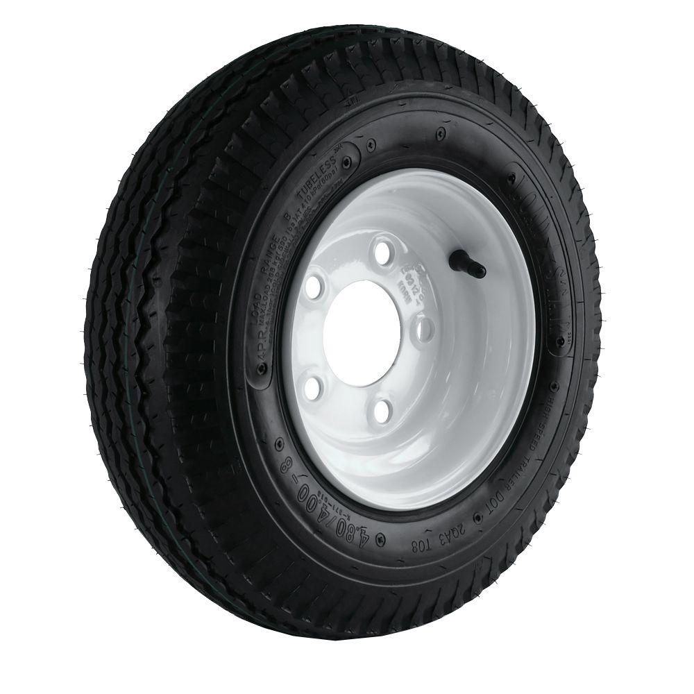 Martin Wheel 480/400-8 Load Range B 5-Hole Trailer Tire a...