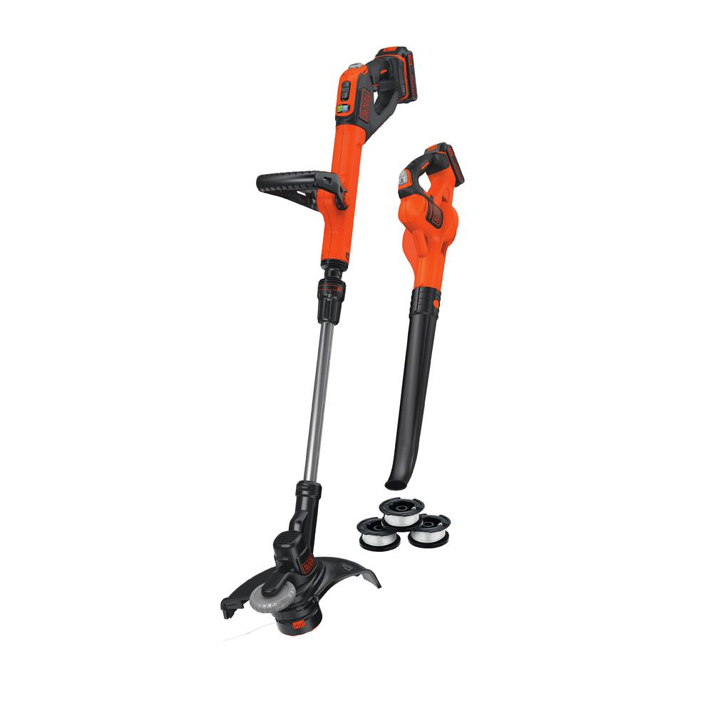 BLACK+DECKER Powercommand 20V Max Cordless Trimmer/Edger and Sweeper Combo Kit (2-Tool) with 3 Bonus Spools