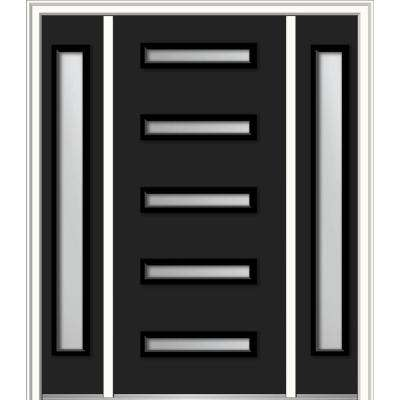 60 in. x 80 in. Davina Left-Hand Inswing 5-Lite Frosted Modern Painted Steel Prehung Front Door with Sidelites