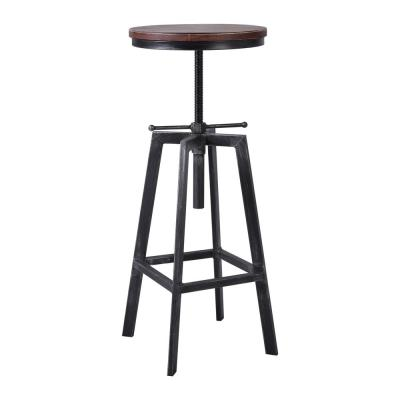 Ashford Adjustable Silver Brushed Gray with Rustic Pine Wood Seat Barstool