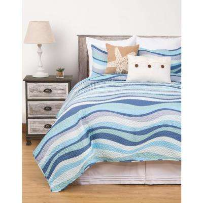 Seawaves Blue King Quilt Set