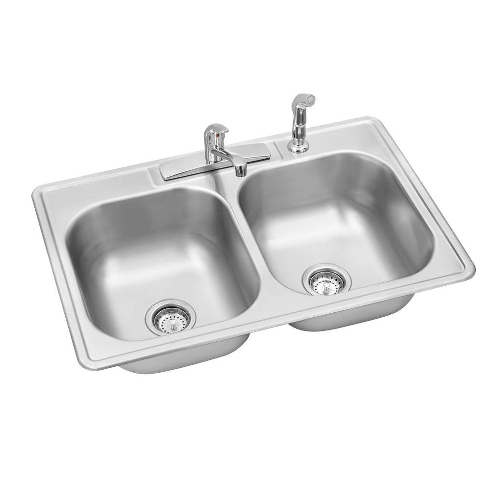 Swift Install All-in-One Drop-In Stainless Steel 33 in. 4-Hole Double Bowl