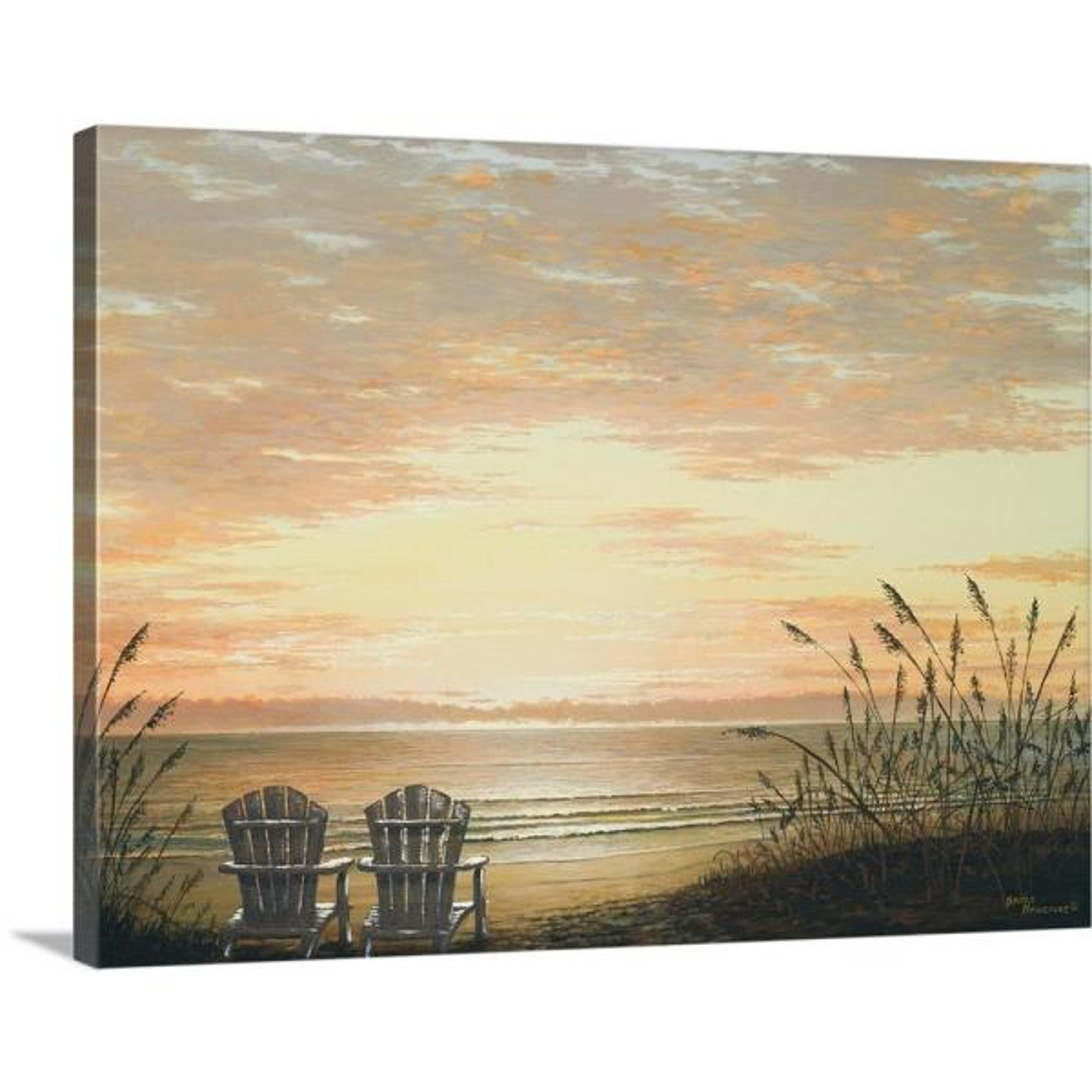 Beach Themed Chairs on Beach Sand Overlooking Water Canvas Print Wall Art Framed