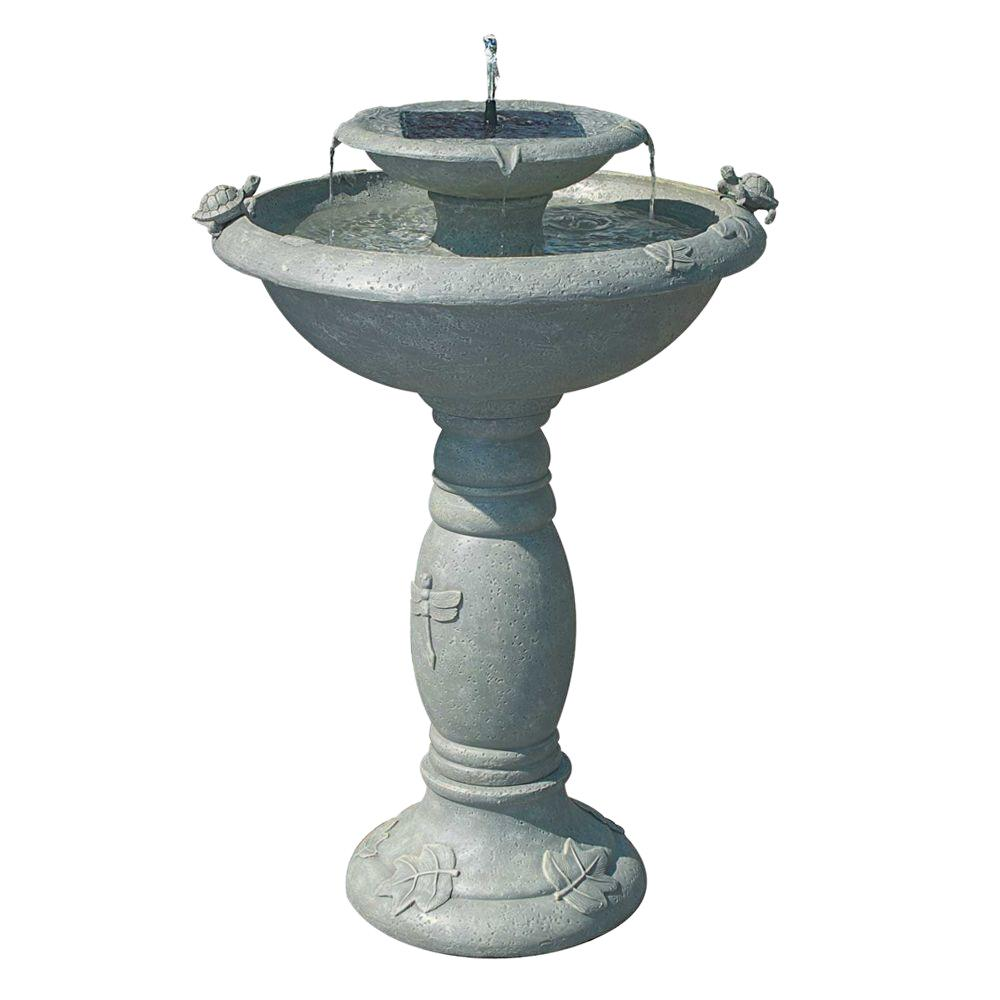Smart solar country gardens weathered stone two tier solar for Garden water fountains