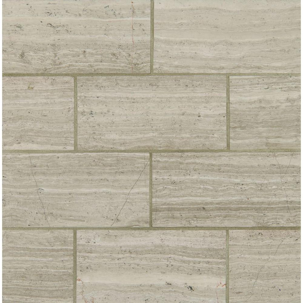 ms white oak 12 in x 24 in polished limestone floor and wall tile 10 sq ft the home depot