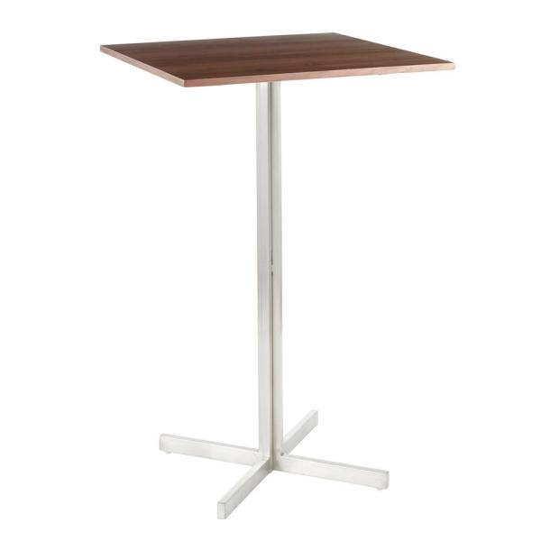 Fuji Stainless Steel Square Bar Table with Walnut Wood Top