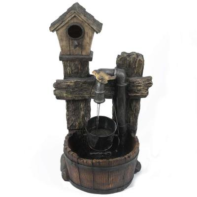 Polyresin Rustic Bird House and Barrel Patio Cascade Fountain with LED Lights