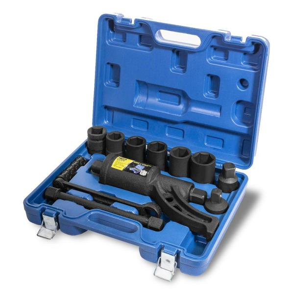 Torque Multiplier Tool Set Heavy-Duty 4800 NM Wrench with Adapters and 24 mm to 38 mm Lug Nut Sockets (8-Piece)