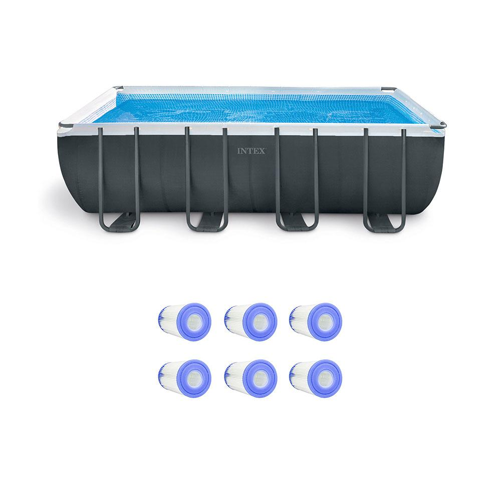 Intex 18 Ft Rectangle Pool Set With Replacement Filter