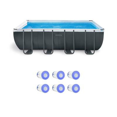 18 ft. Rectangle Pool Set with Replacement Filter Cartridges (6-Pack)