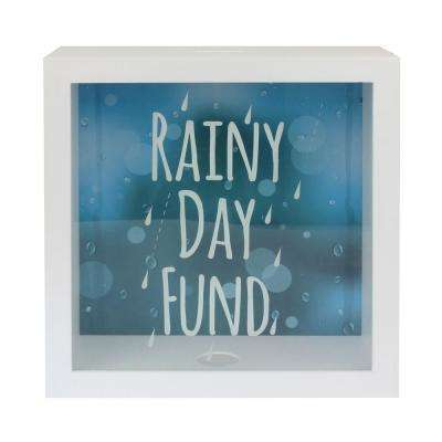 10 in. x 10 in. White Square MDF Rainy Day Fund Bank