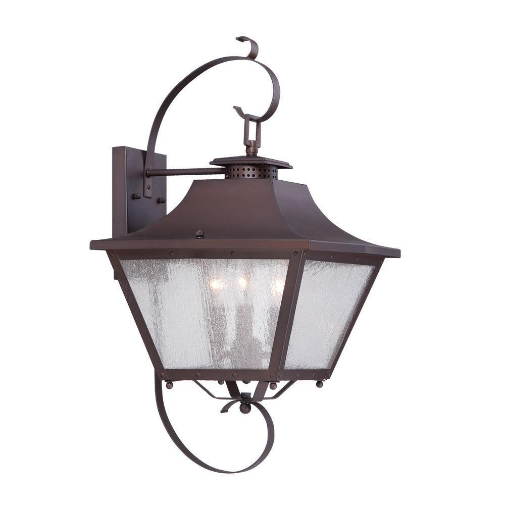 Acclaim lighting lafayette collection 3 light architectural bronze outdoor wall mount light for Bronze exterior light fixtures