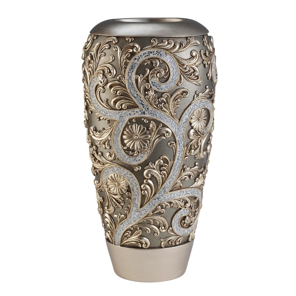 225 & Silver Vine Gold Polyresin Decorative Vase