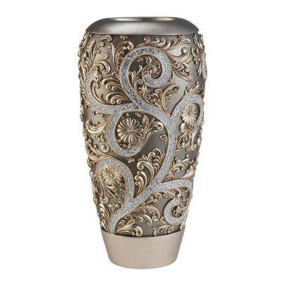 Silver Vine Gold Polyresin Decorative Vase