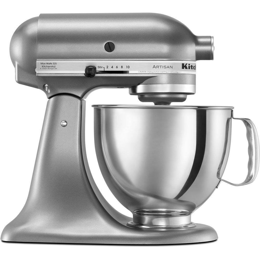 Artisan 5 Qt. Silver Stand Mixer The KitchenAid KSM150PSCU Contour Silver Tilt-back Head Stand Mixer is incredibly versatile and more than a mixer. With all the optional attachments (sold separately), you can use it to make homemade pasta, stuff fresh sausage, whip up ice cream and give fruit a squeeze. This model has a 325-Watt motor, 5 Qt. stainless steel bowl with comfort handle, pouring shield and a tilt-back mixer head design that provides easy access to bowl and beaters. No wonder generations of cooks have cherished theirs. Isn't it your turn.