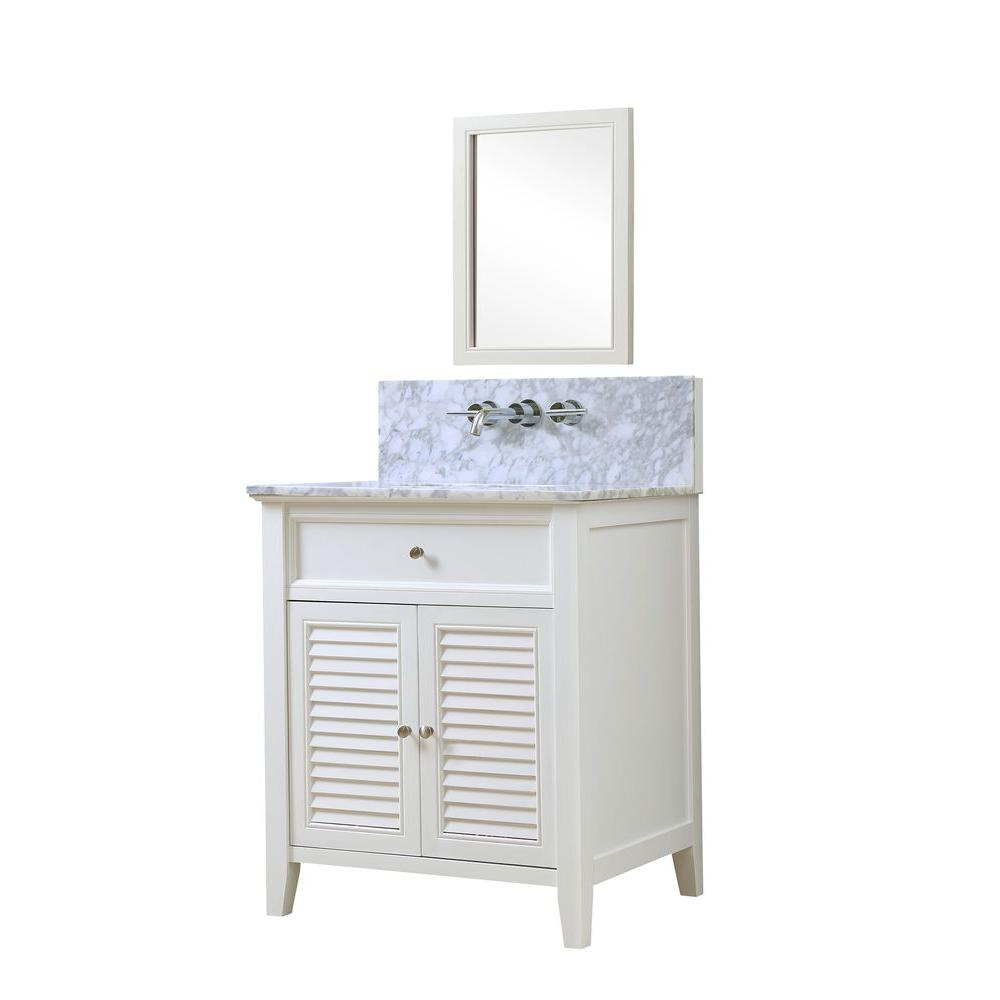 Direct vanity sink Shutter Premium 32 in. Vanity in White with Marble Vanity Top in White Carrara with White Basin and Mirror