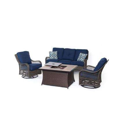 Orleans 4-Piece All-Weather Wicker Patio Fire Pit Seating Set with Navy Blue Cushions