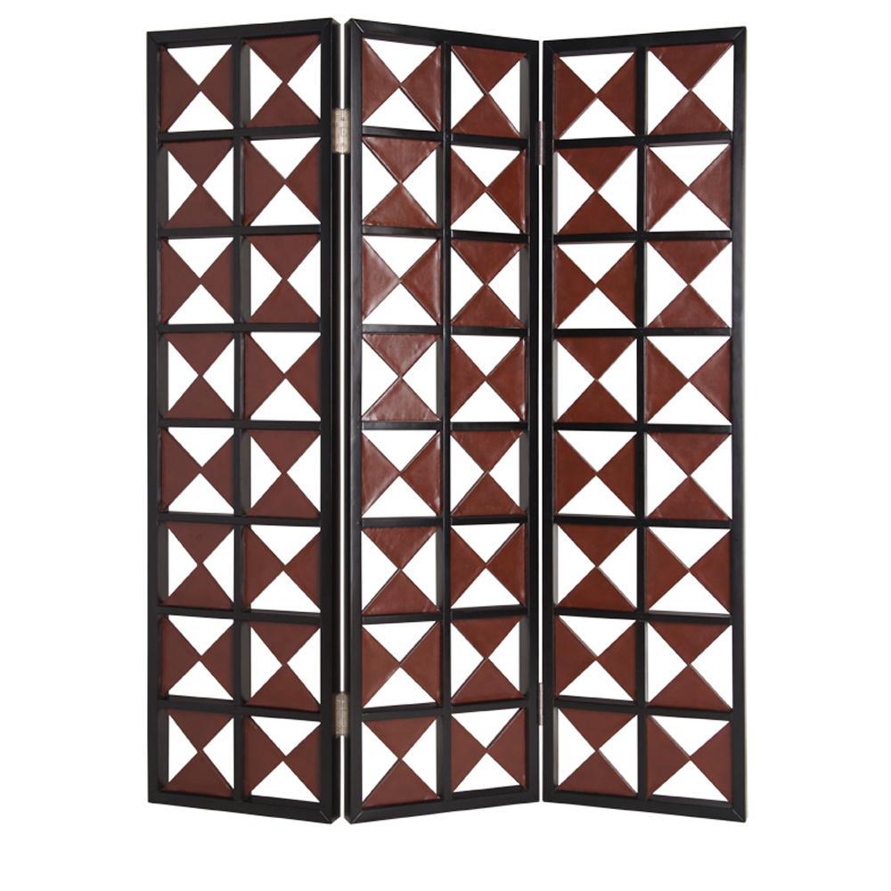 NAVARRO 6 ft. Brown 3-Panel Room Divider