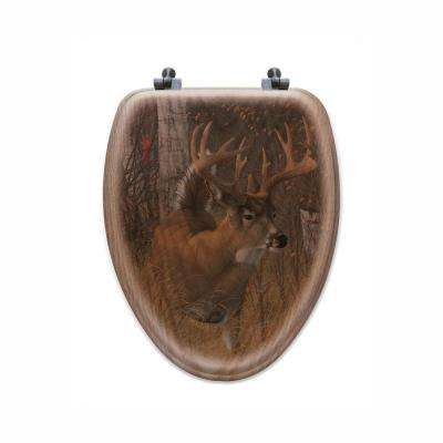 Play the Wind Elongated Closed Front Wood Toilet Seat in Oak Brown
