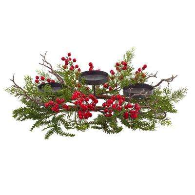 6.5 in. Berry and Pine Triple Candleabrum
