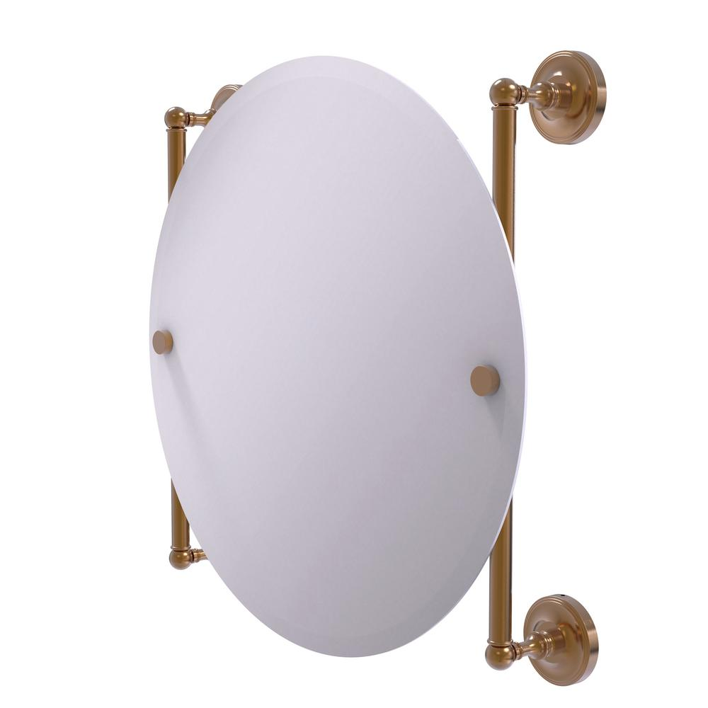 Prestige Regal Collection Round Frameless Rail Mounted Mirror in Brushed Bronze